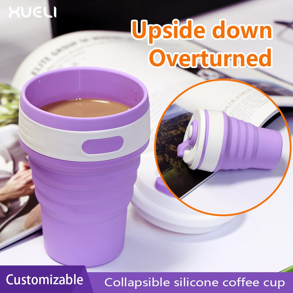 Spill proof Sports tea cup Eco friendly Silicone foldable Coffee mugs