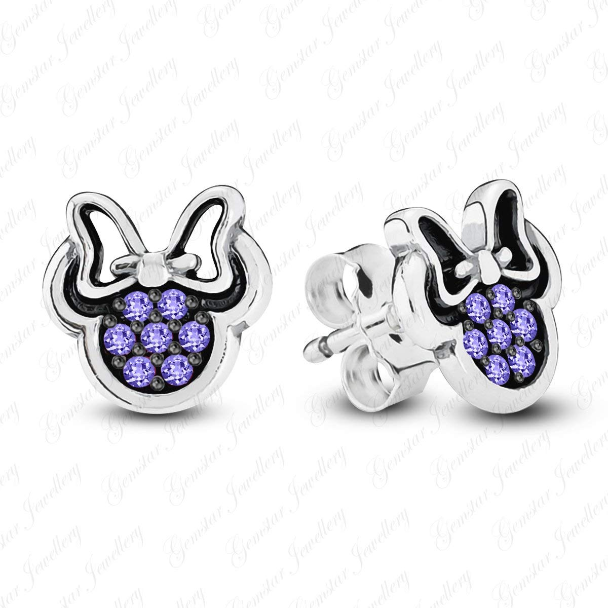 Gemstar Jewellery 925 Silver Round Aquamarine Girls Minnie Mouse Bow Earrings In 14k Rose Gold Plated