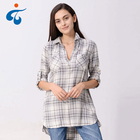 Professional design top quality breathable plaid style long shirts for women