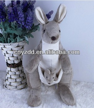 Baby Kangaroo Plush Toy Stuffed Grey Kangaroo Plush Toy
