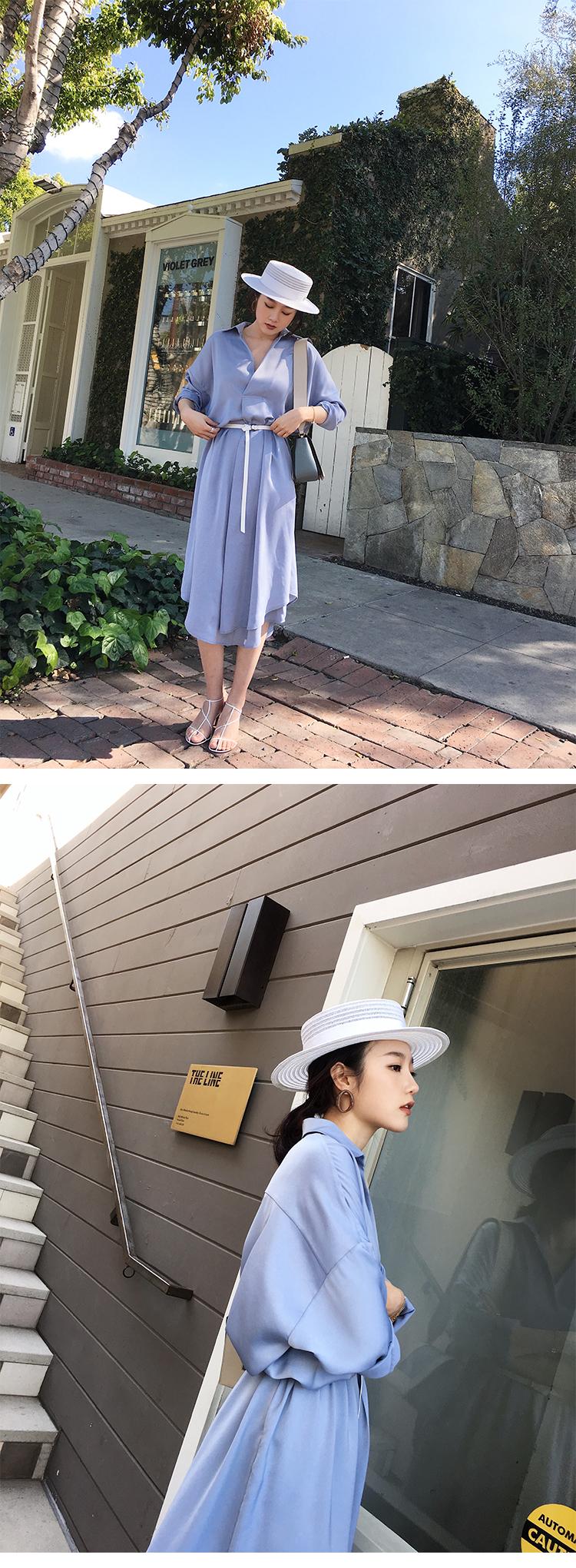 ASM ANNA printemps été femmes au-dessus du genou chemise manches longues en soie élégante robe décontractée