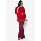 Hot Sale Islamic Clothing Wholesale Front Slit Midi Kurung Kimono Sleeves Red Baju Malaysia