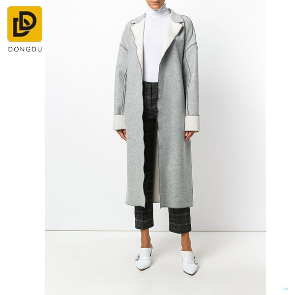 Fashion design Formal wool blended winter women Light grey and ivory wool-cashmere blend duster women cardigan coat