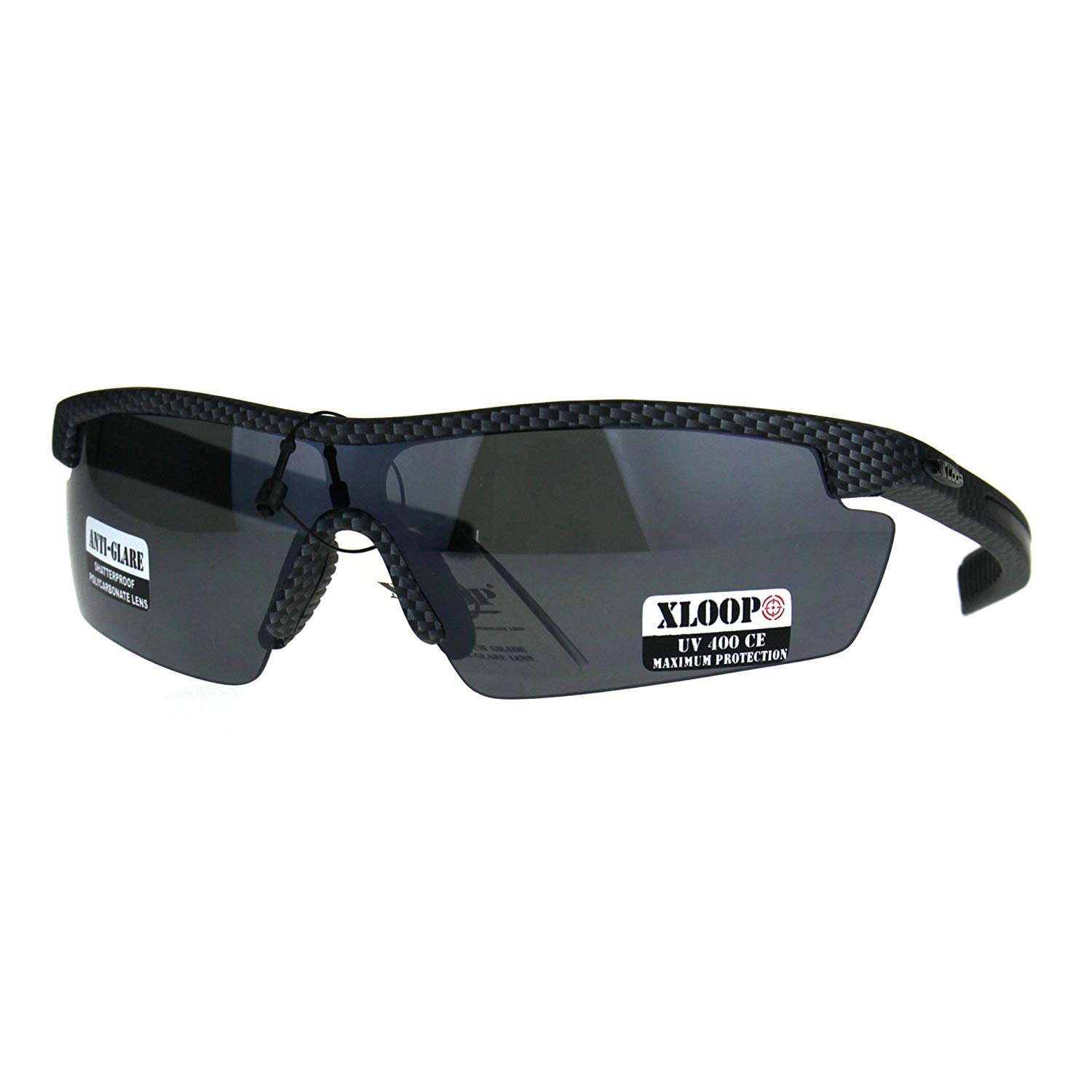 02afd44d07abb Get Quotations · Mens Xloop Half Rim Baseball Sport Shield Plastic  Sunglasses