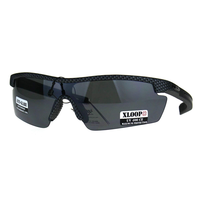 2c002cd23d Get Quotations · Mens Xloop Half Rim Baseball Sport Shield Plastic  Sunglasses