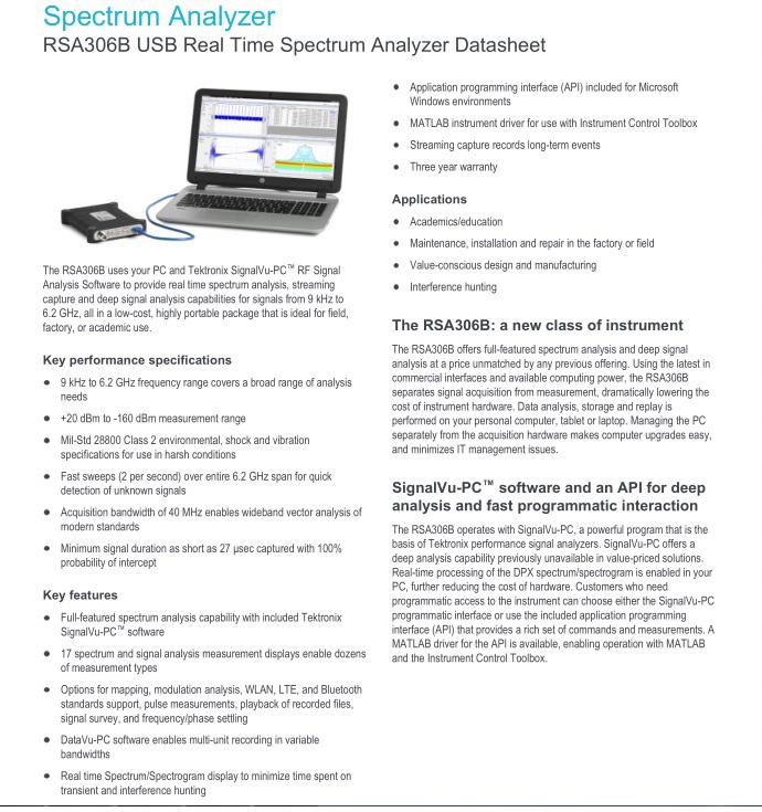 Tektronix Spectrum Analyzer Rsa306b Usb Real Time Spectrum Analyzer - Buy  Spectrum Analyzer,Tektronix Rsa306b,Usb Real Time Spectrum Analyzer Product