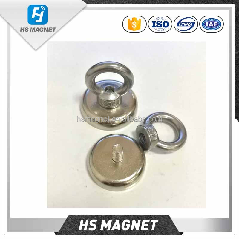 Strong Magnets Round Magnetic Eyebolt Ring Disc Rare Earth Magnet Neodymium Heavy Power Holder Hook Magnet For Salvage