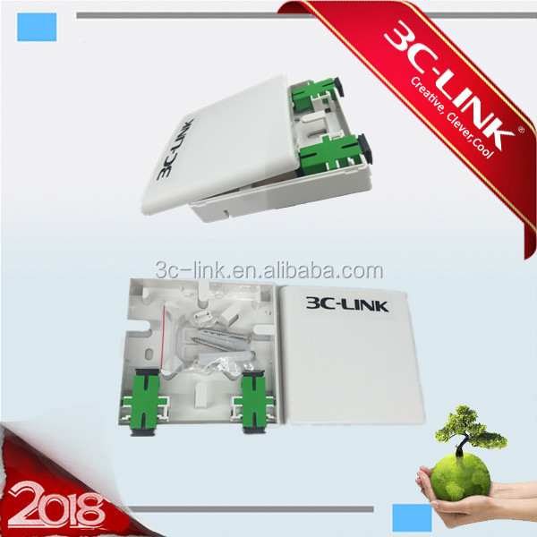2 ports Mini Fiber Optic socket panel FTTH terminal box/Indoor terminal box