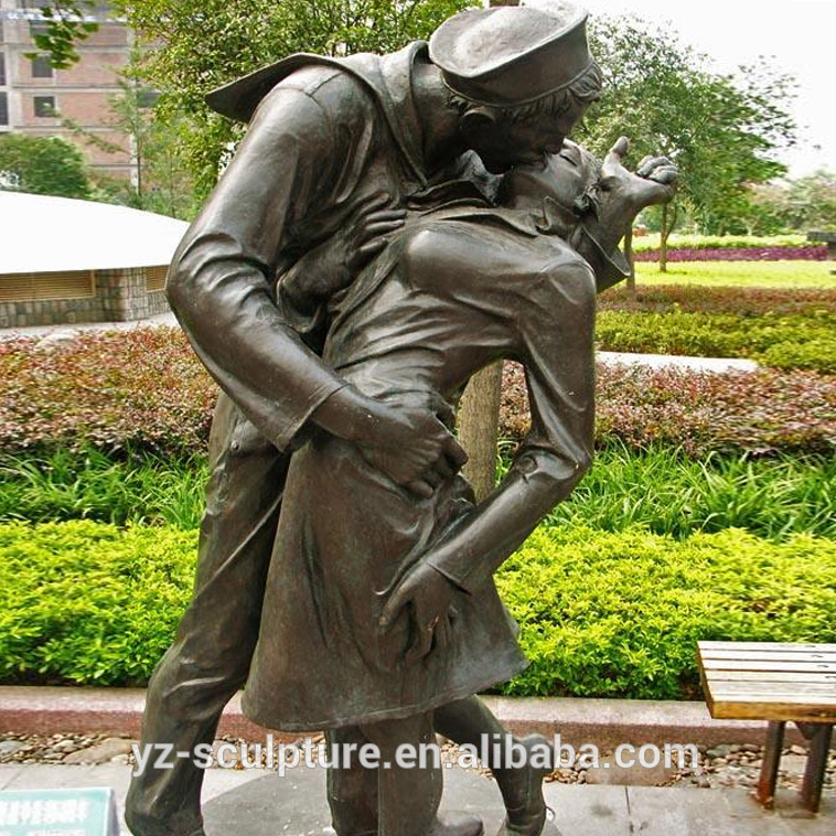 garden decoration brass life size kiss of victory statues