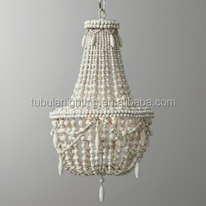 Antique White/Gray Classic Farmhouse Distressed Wood Beaded Basket 3-Light Chandelier