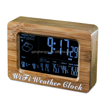 Smart Alarm Clock >> High Quality Fashion Bamboo Wood Table Wifi Weather Forecast Smart