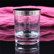 luxury thick bottom wedding scented clear glass candle jar with lid