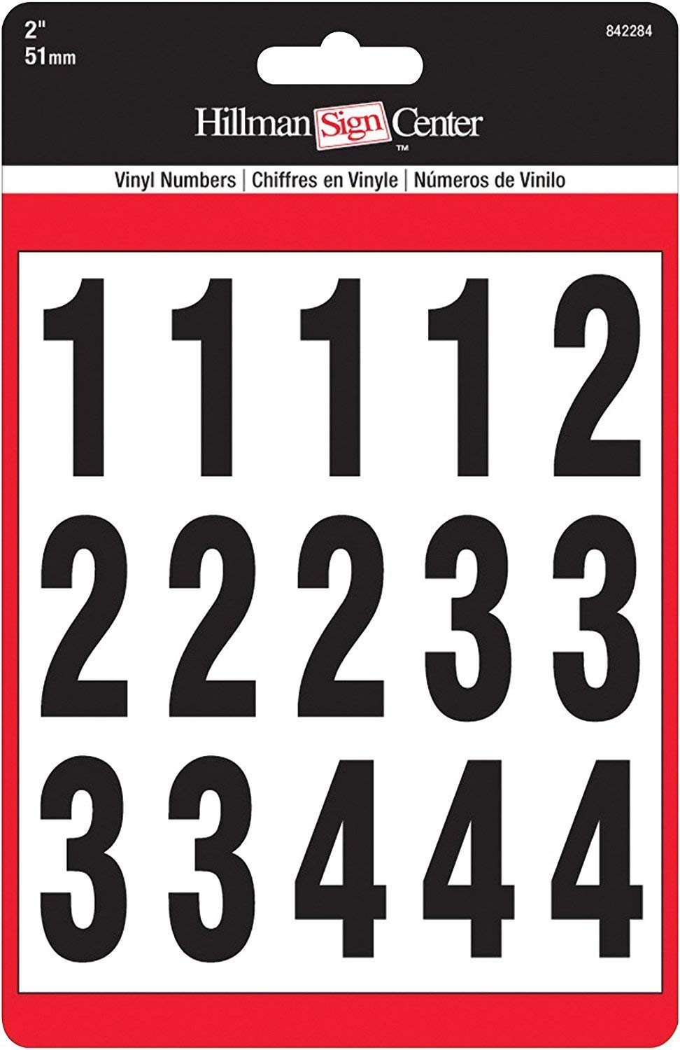 2-Inch Numbers Kit, Black on White, Square-Cut Mylar, Self-Adhesive (842284) - Six (6) Packs (Kits)