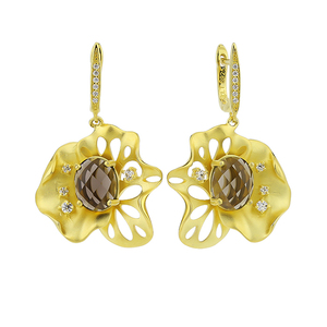 Flower shape design fashion pendant gold plated earrings for woman