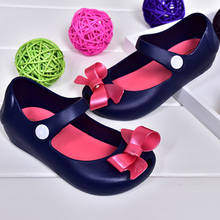 2016 New Mini Melissa Shoes Sandals Princess Shoes Butterfly Knot Soft Bottom Fish Head Girls Sandals