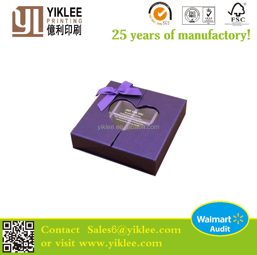 2016 wholesale mid open gift box with heart shape PVC window