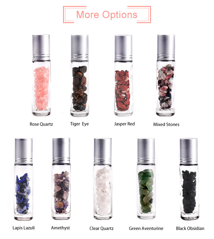 De luxe 10 ml rouleau de pierre gemme boules en verre dépoli rouleau sur bouteille avec puce en pierre à l'intérieur pour le parfum d'huile essentielle