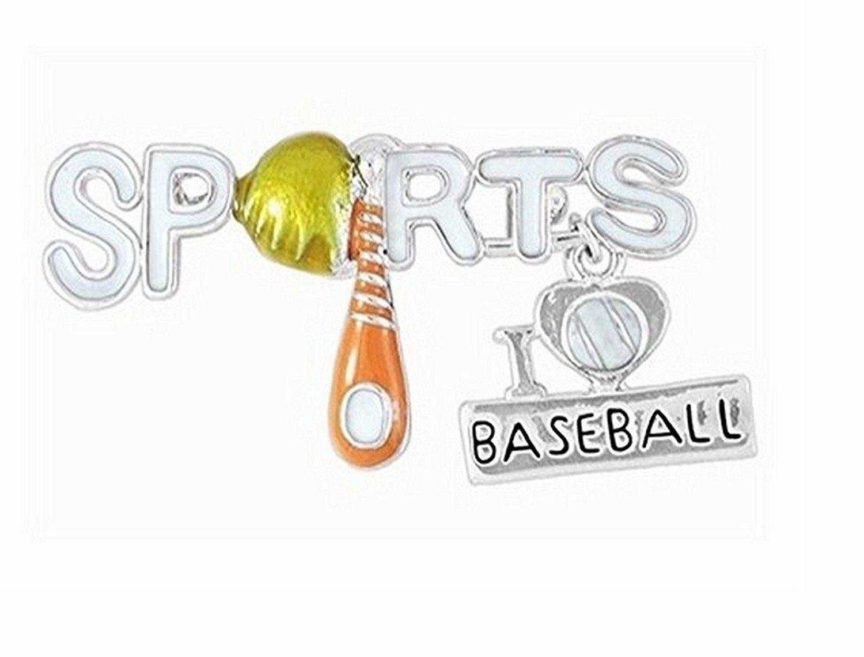 """Sports"" And ""I Love Baseball"" Charm Pin"