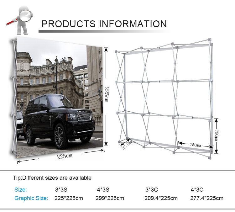 aluminum fabric folding pop up banner stand