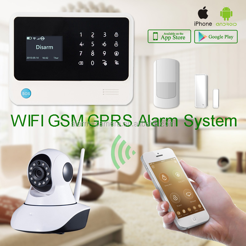 Word display touch panel wireless /wired zones home security wifi/gsm alarm system