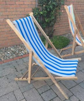 Wooden Folding Canvas Lounge Beach Lawn Chairs Art Deco Lake House