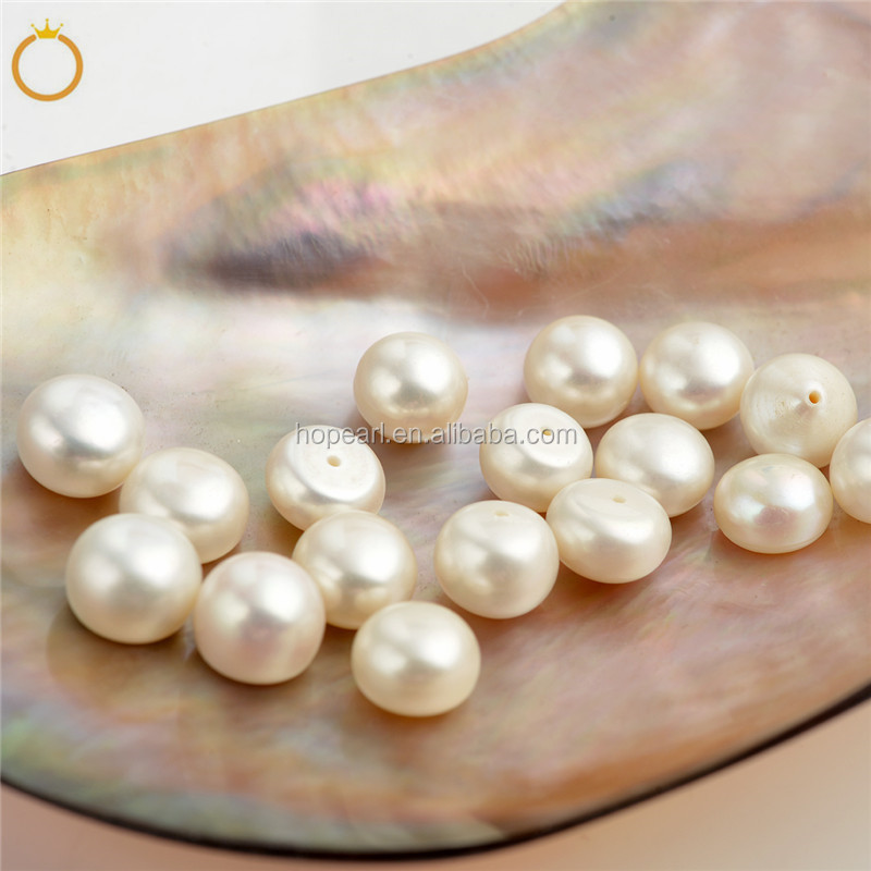 LPB58 Wholesale 9-10mm Button White Freshwater Pearls Loose Beads Cultured Pearl Flat Back Half Drilled Cabochons