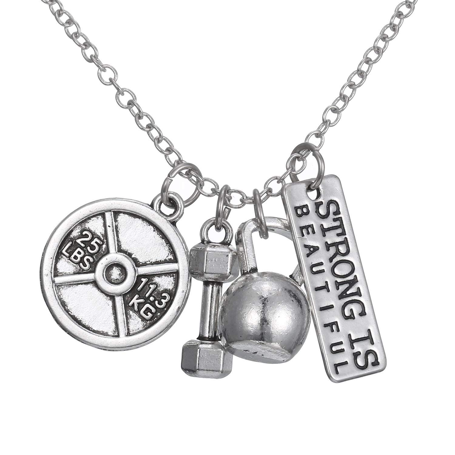 Gmai Beautiful Workout Exercise Weight Lifting Barbell Kettlebell Fitness Silver Fitness Gym Barbell Plate Dumbbell Weight Plate Pendant Jewelry Necklace For Men Women Pendant Necklace