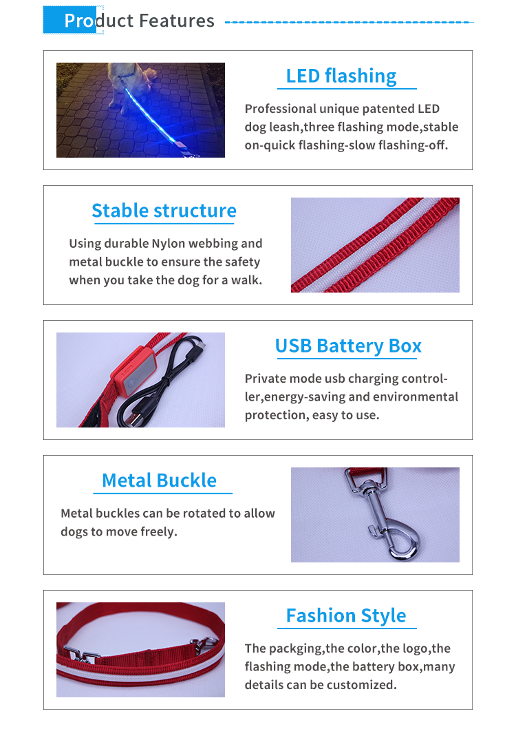Free sample USB rechargeable dog collar lead leash retractable led flashlight dog pet night leash
