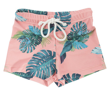Tropical Palm Leaf Print Little Swimming Kids Shorts Custom Summer Baby Boy Swimming Trunks