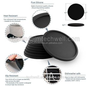 8PCS/SET Silicone Coaster Rubber Black Mat Drink Coaster