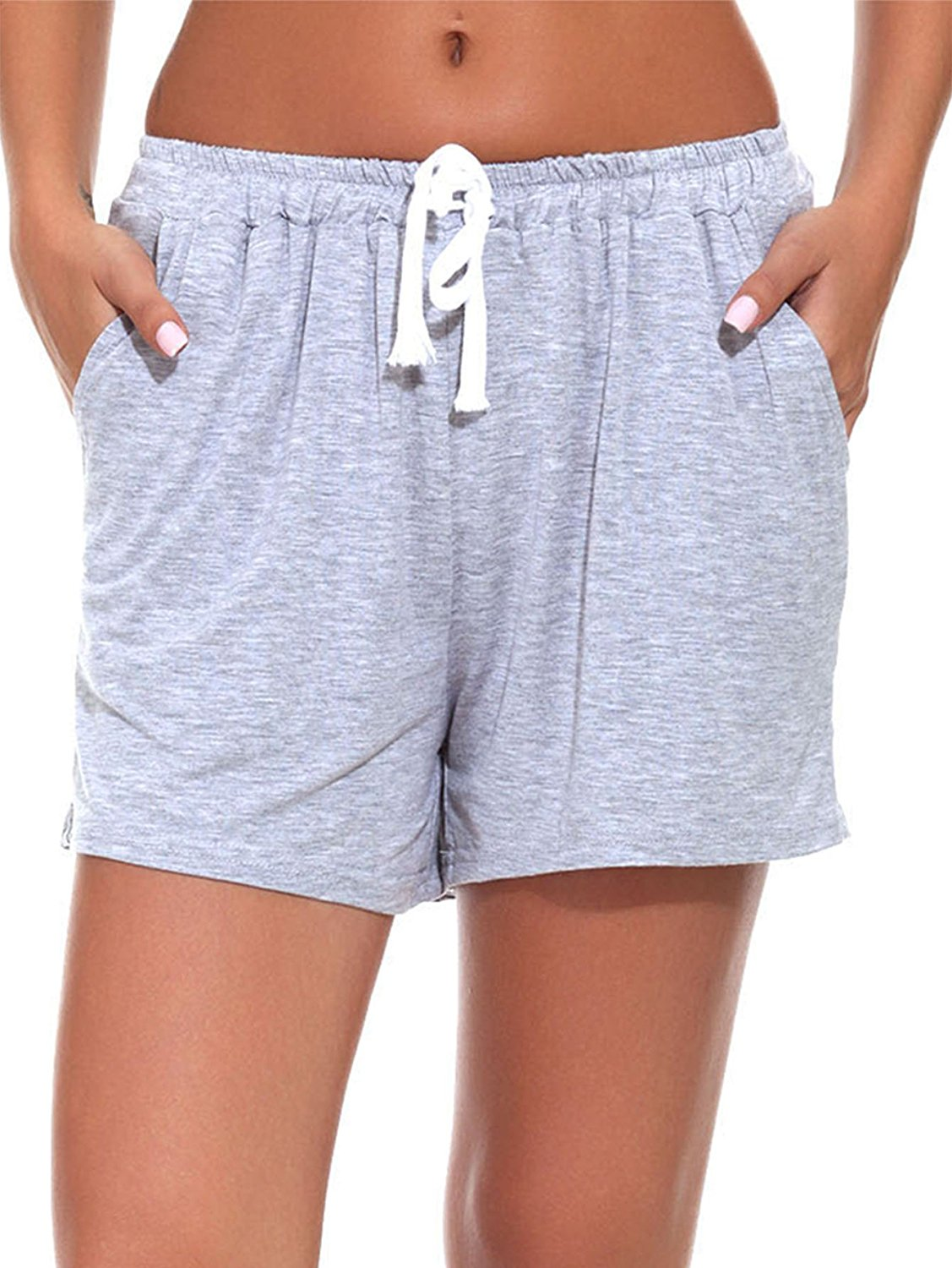 Get Quotations · Fayejove Women Solid and Striped Sleep Shorts Stretchy Cotton  Pajama Shorts ac6fffe55