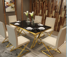 Modern Gold Metal Apartment Dining Table and chair with stainless steel leg hotel use