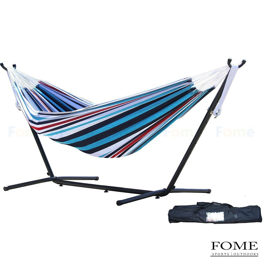 Hammock with Stand, FOME SPORTS|OUTDOORS Portable Double Hammock with Space Saving Steel Stand Including Carrying Case One Year Warrenty
