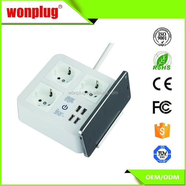 Charming Eu 3 Way Tabletop Power Strip Mobile Scaffolds Usb Multiple Extension Socket