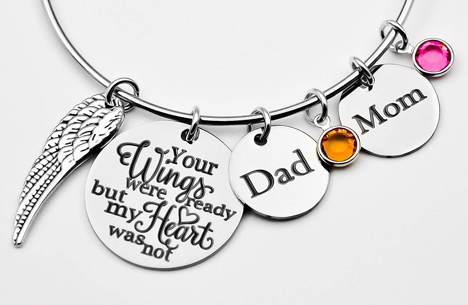 Memorial jewelry, your wings were ready but my heart was not, bangle bracelet, stainless steel bangle, loss of loved one, sympathy gift, mom, dad, name, adjustable bangle bracelet, Mom and Dad