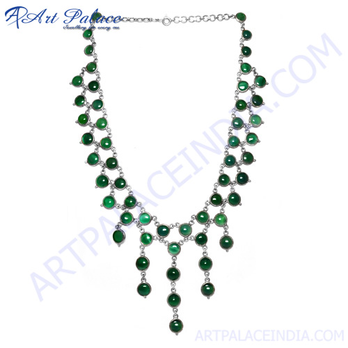 Impressive Green Onyx Multi Gemstone Silver Necklace, 925 Sterling Silver Jewel