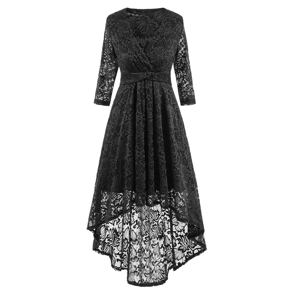 Women Long Dress Daoroka Women's Sexy V-Neck New Vintage Half Sleeve Formal Patchwork Wedding Dress Cocktail Retro Swing Evening Party Skirt Ladies Casual Fashion Gift Fit Mid-Calf Dress (S, Black)