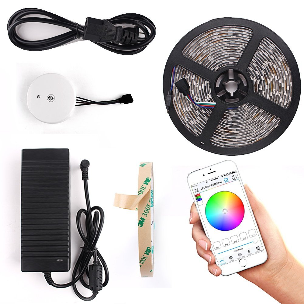 Color changing Bluetooth Led strip kit 5m/roll 10m/roll 5050 RGB strip +12V 5A Power adapter+Bluetooth LED Controller