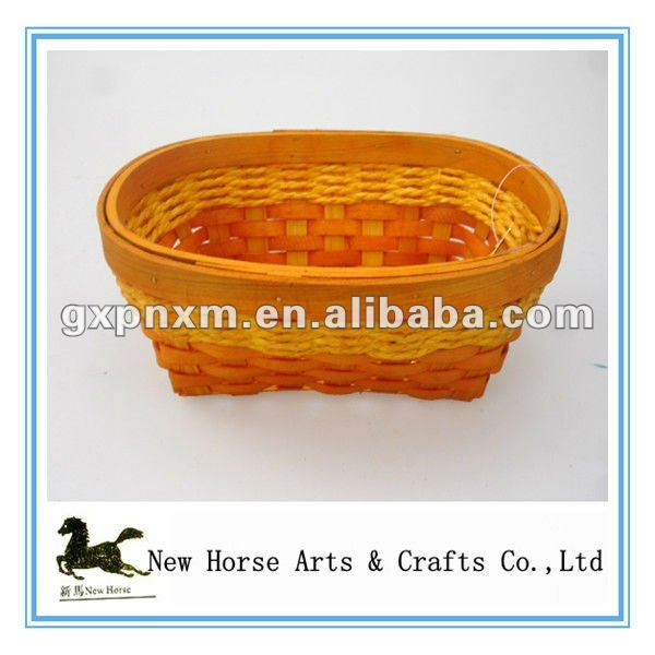 wood chip and paper rope tray