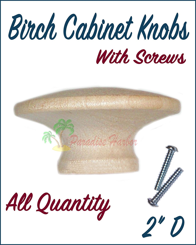 "BDHardwareHouse 5 Pcs 2"" Birch Cabinet Knob Unfinished Birch Round Knobs for Cabinets Unfinished Drawer Knobs Unfinished Wood Knob Wooden Knobs Cabinet Knobs"