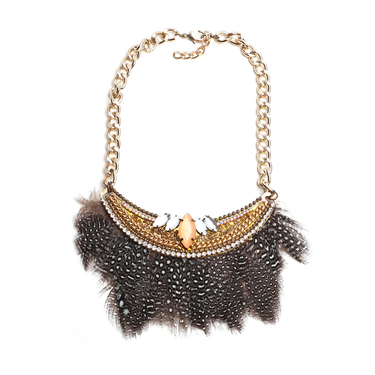full neck covering necklace design crystal short health bohemia feather