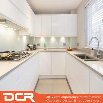 U Shape White Kitchen Cabinet
