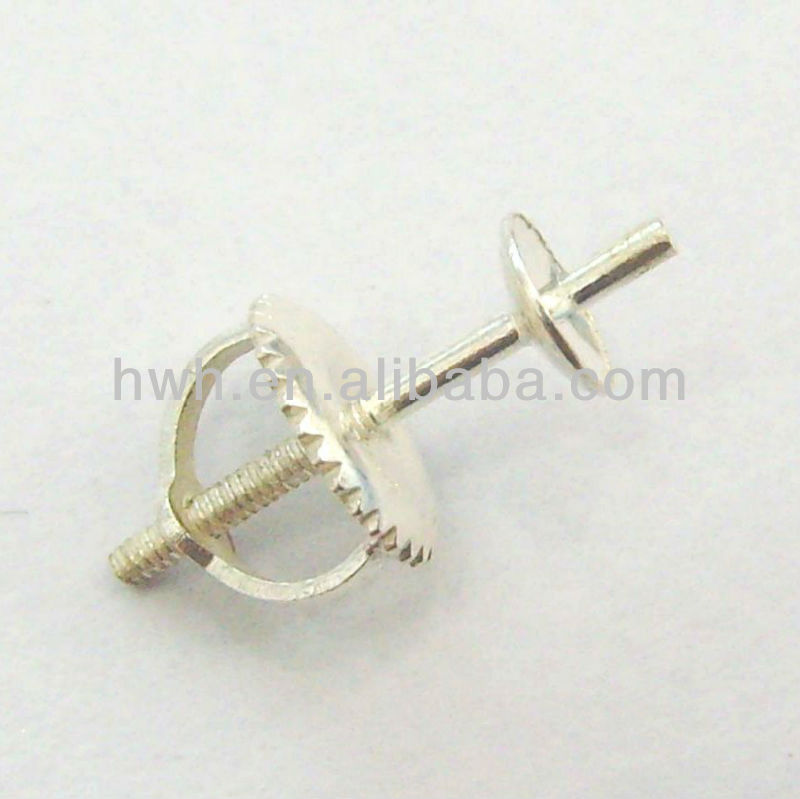 H1209/4mm Silver 925 Earring Screw Pin&Back with 4mm Pearl Cap
