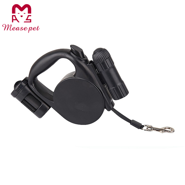 multi function retractable dog leashes with LED light and waste poop bags