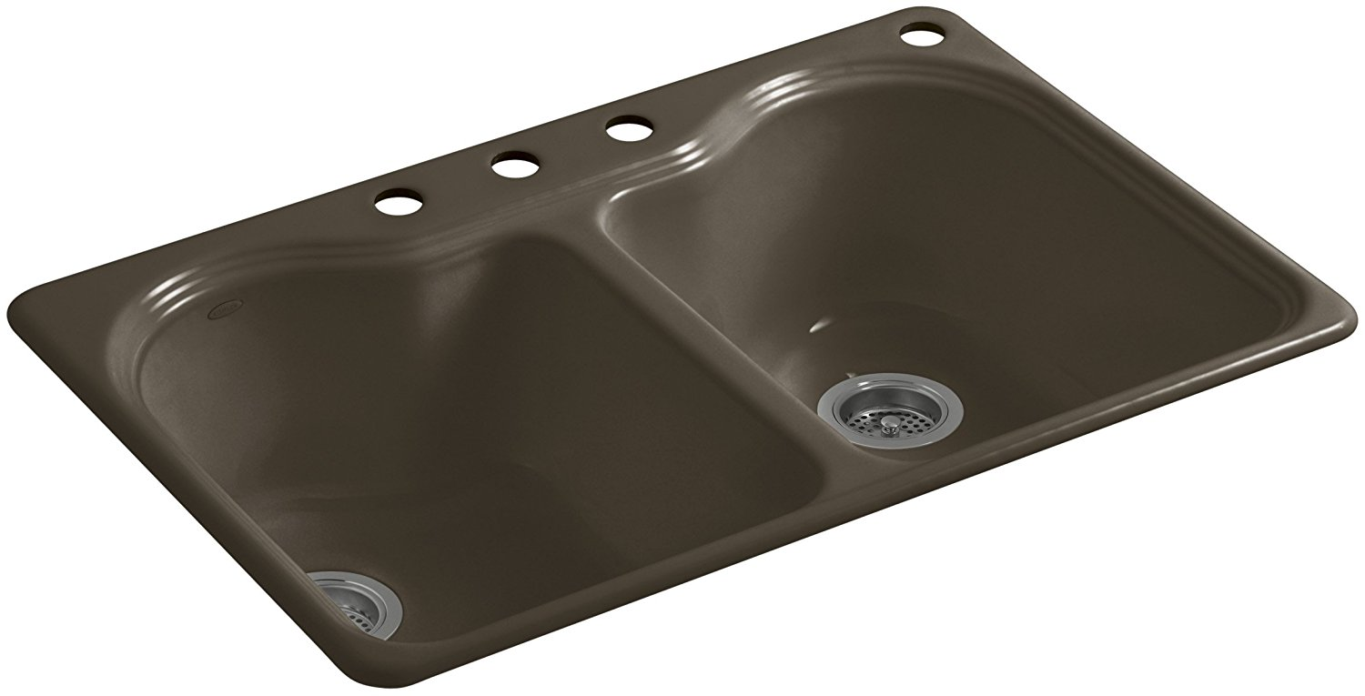 KOHLER K-5818-4-20 Hartland 33-Inch x 22-Inch Top-Mount Double-Equal Bowl Kitchen Sink with 4 Faucet Holes, Suede