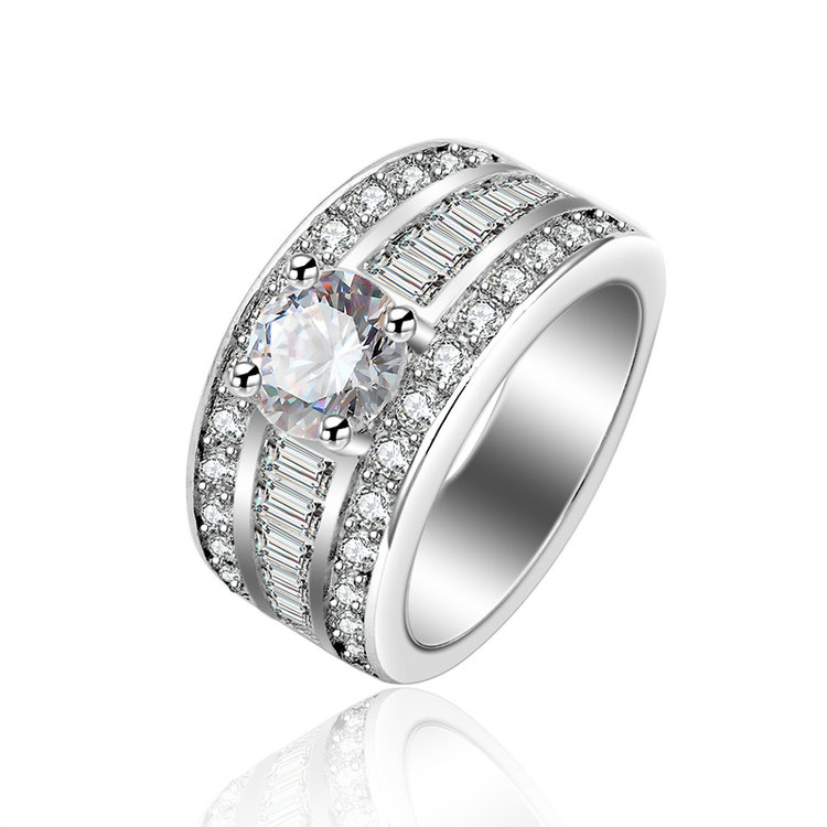 Grosse bague or blanc diamant