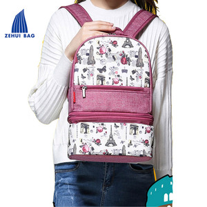 Fashion multifunction diaper bag a variety of back method Insulated diaper bag diaper backpack