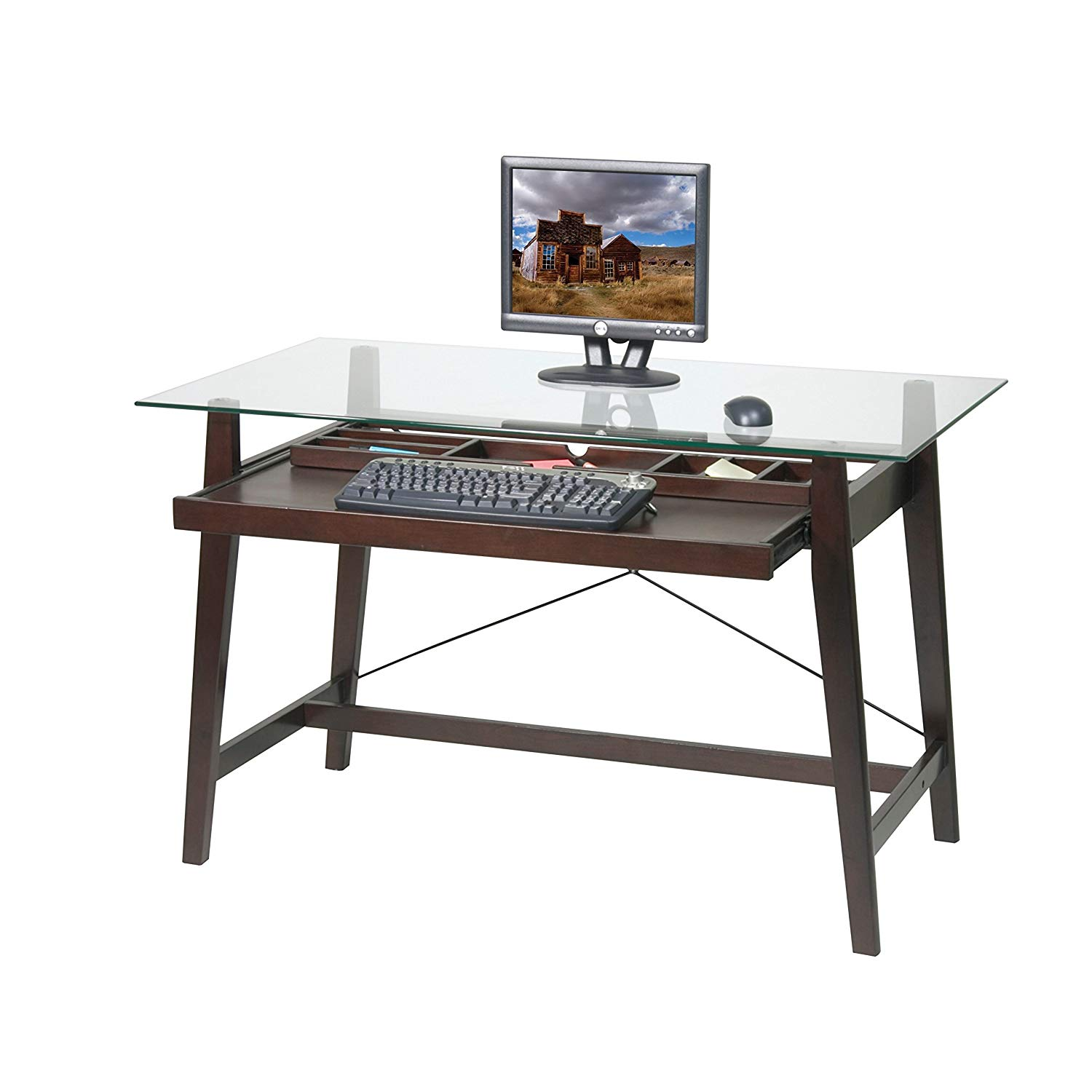 MyEasyShopping Tribeca 42-inch Espresso Glass-top Computer Desk Computer Glass Top Desk Laptop