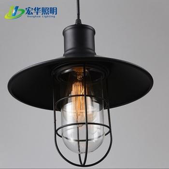 Black Iron Material Suspended Wire Ceiling Lighting Decorative Loft Pendant Lamps