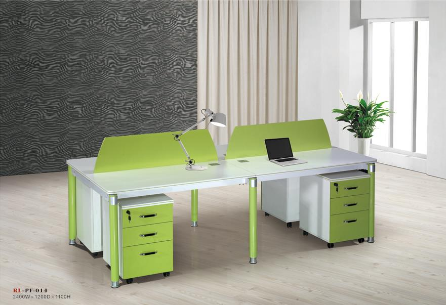 E1 melamine board top stainless steel legs office workstation for 4 person